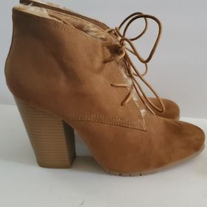 Leila Stone Faux Fur Lined Lace Booties 9
